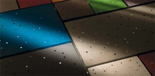 полимер-цементная плитка со встроенными световодами